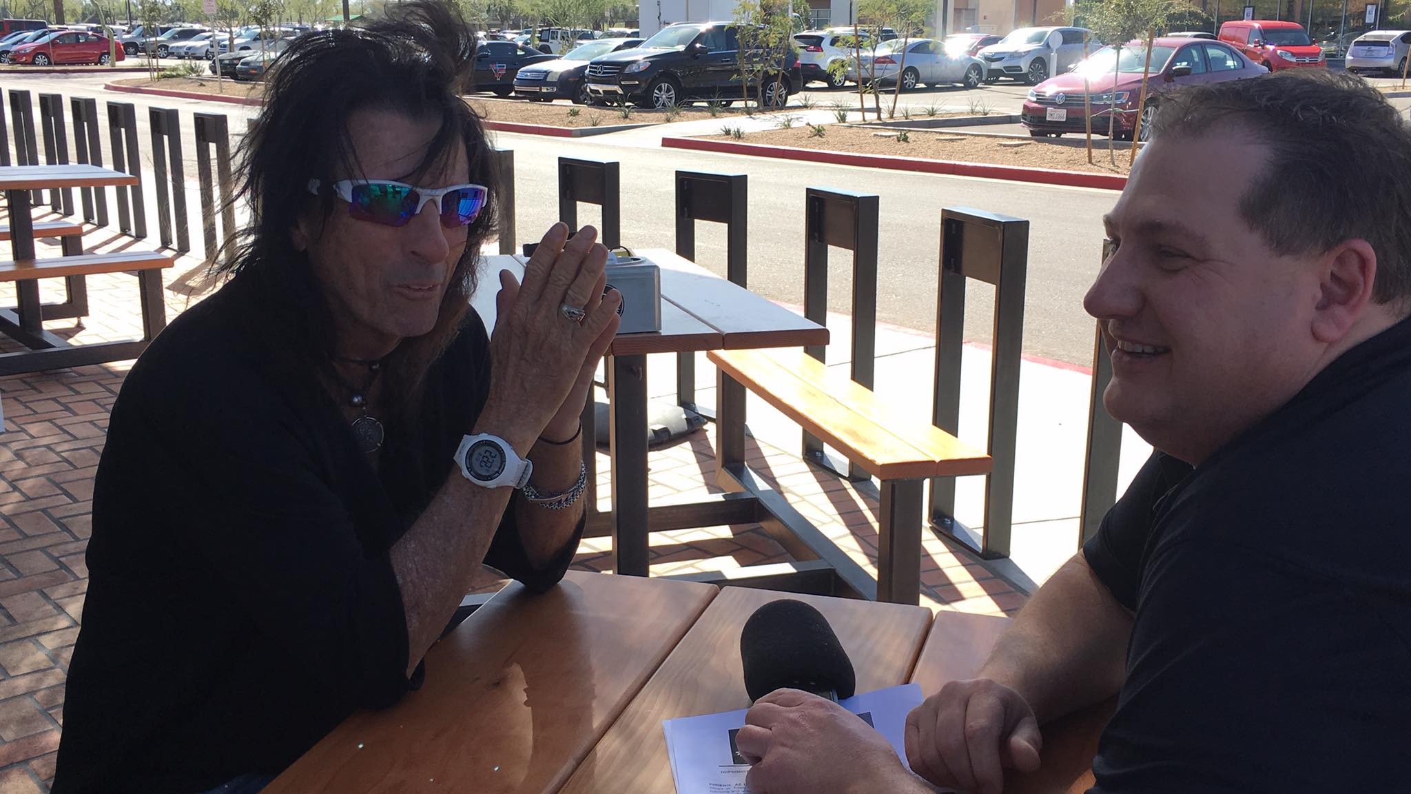 Photo of Steve Grosz from The Morning Beat sits down with Alice Cooper