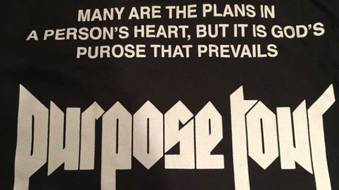 Photo of Justin Bieber's 'PURPOSE' tour t-shirt has a spelling mistake