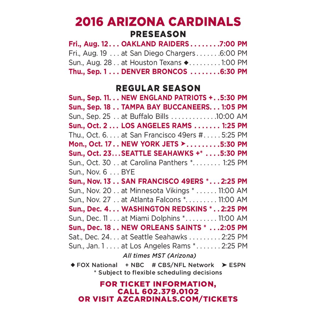 arizona cardinals 2016 regular season schedule released - 88.7 the pulse