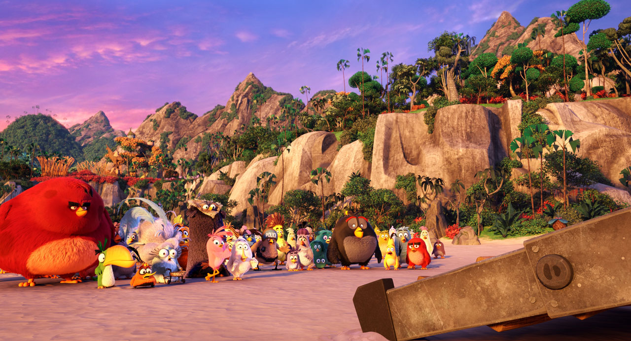 Concerned villagers, including Red (Jason Sudeikis), Chuck (Josh Gad), Bomb (Danny McBride), Matilda (Maya Rudolph), Stella (Kate McKinnon) and Judge Peckinpah (Keegan-Michael Key) gather on the beach in Columbia Pictures and Rovio Animation's ANGRY BIRDS.